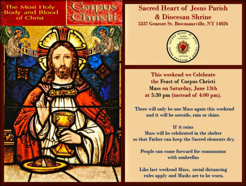 Feast of Corpus Christi Saturday Mass at 5:30 pm in the Shrine