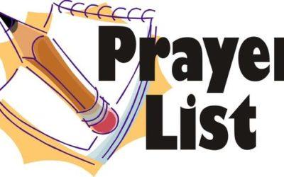 SHJ PRAYER LIST NEWS AND CHANGES:
