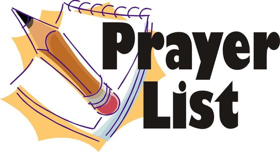 SHJ PRAYER LIST NEWS AND CHANGES: