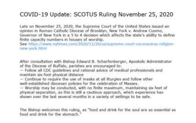 New Diocesan Directives regarding Mass  11/27/2020