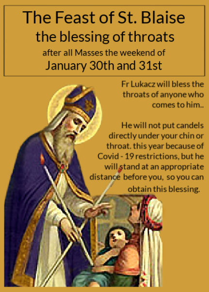 The Feast of St. Blaise – the blessing of throats