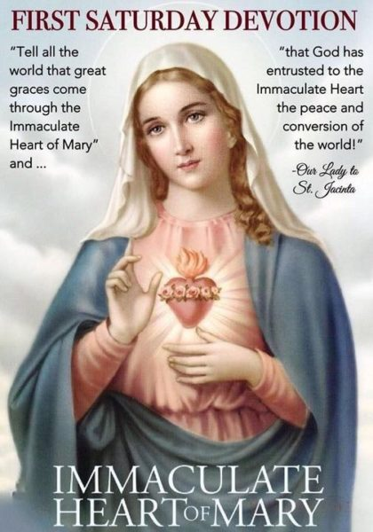 Sacred Heart of Jesus Parish, First Saturday Devotion to the Immaculate Heart of Mary, March 6th at 8:00 am, followed by the Rosary