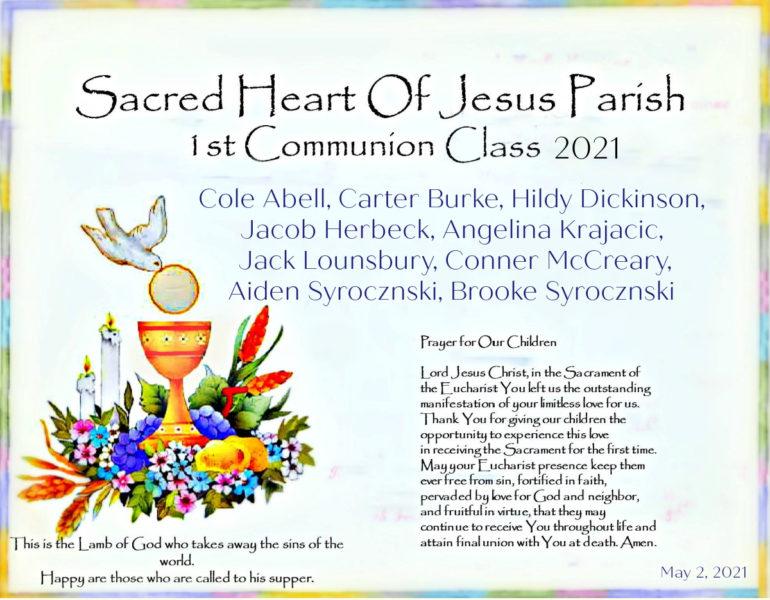 Sacred heart of Jesus 1st Communion Class